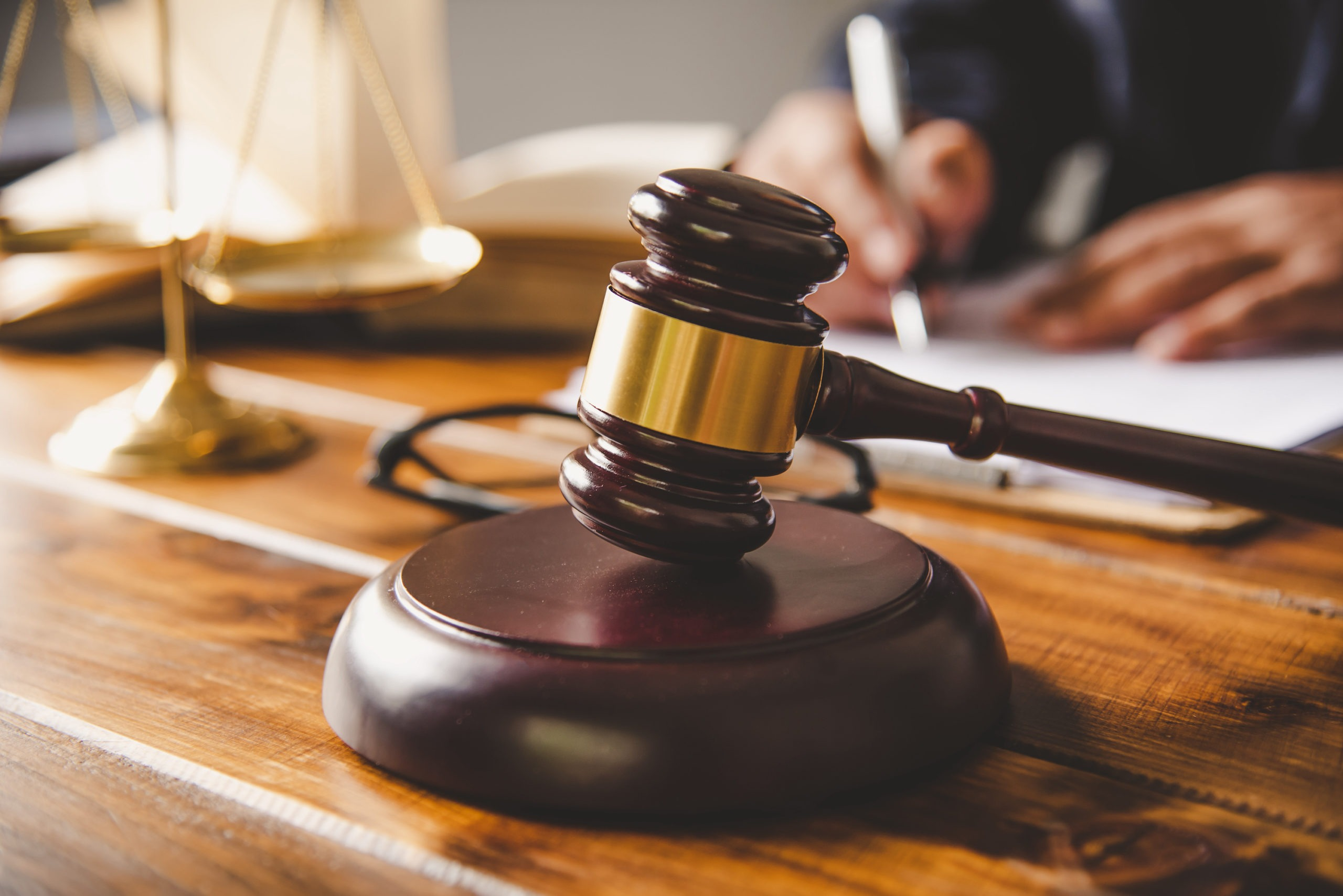 judgement lien concept Law theme, mallet of the judge, law enforcement officers, evidence-based cases, and documents taken into account.